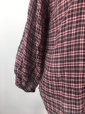 Joie Women's Red Black Plaid Button Front Bishop Sleeves Blouse Top Size S