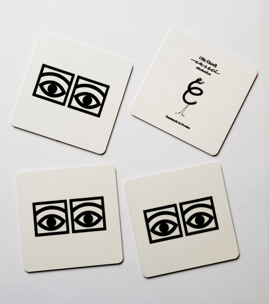 Ögon Cacao White Coasters - Black Eyes