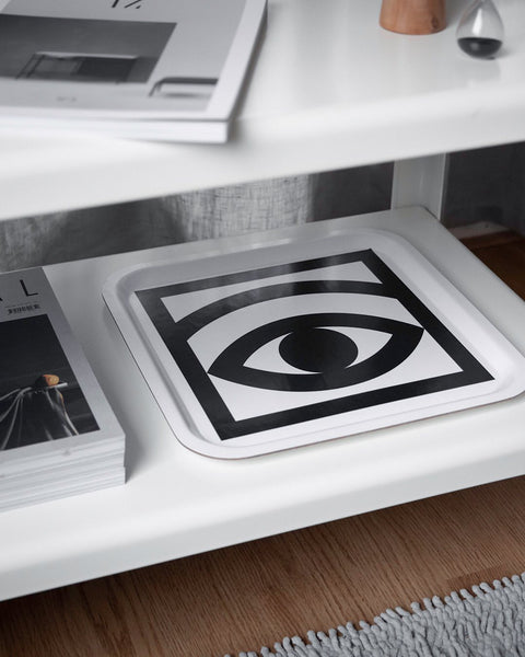 Ögon Cacao One Eyed White Tray (square)