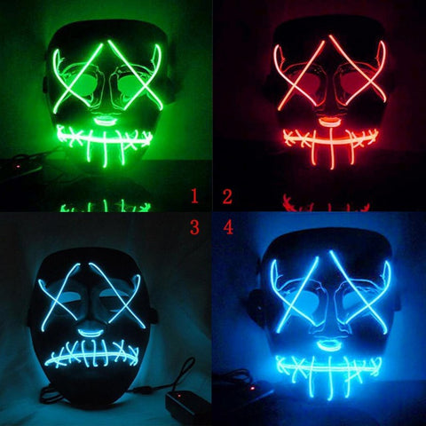 Led Mask Horror Grimace Bloody EL Wire DJ Glowing Full Face Mask