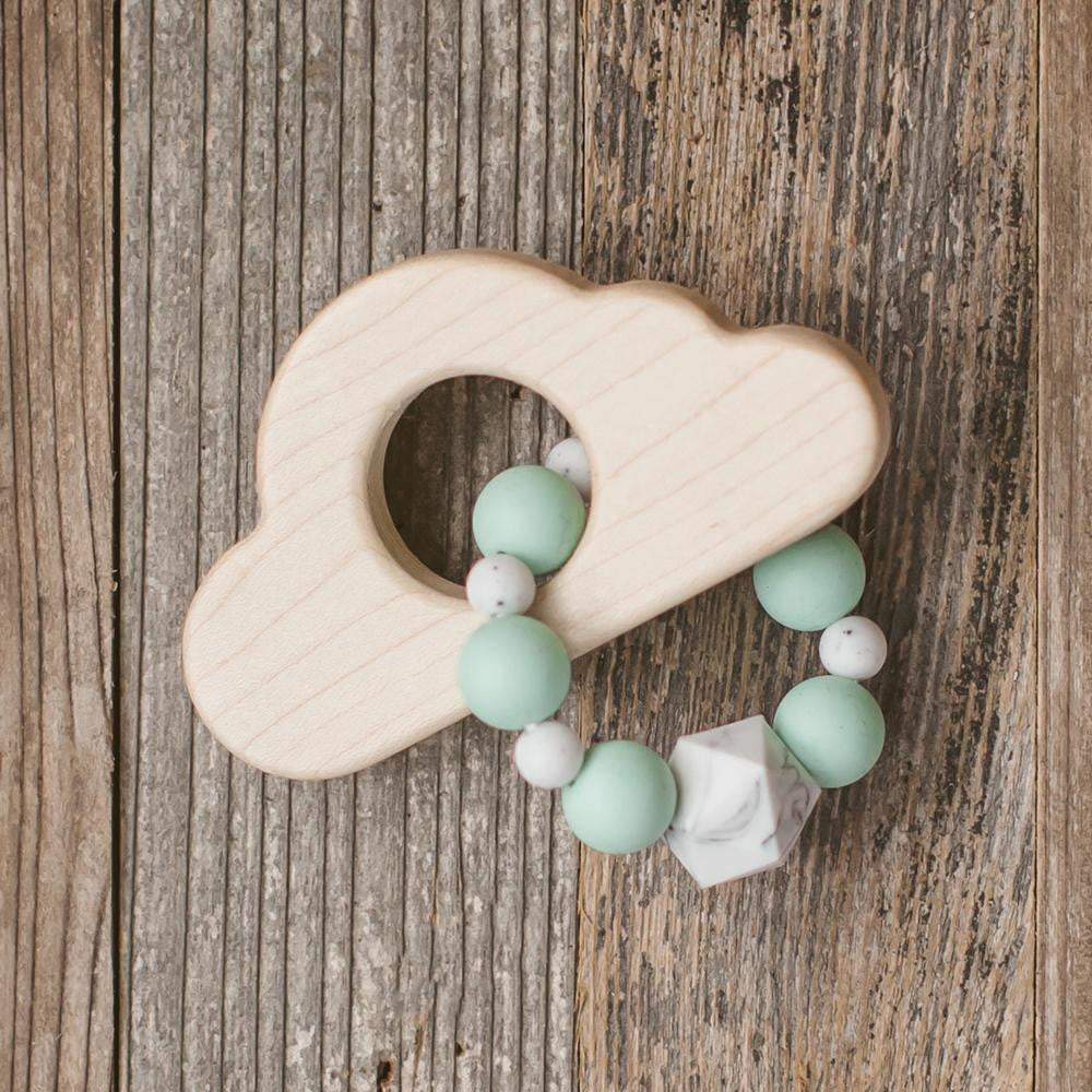 Cloud Wood and Bead Baby Teether