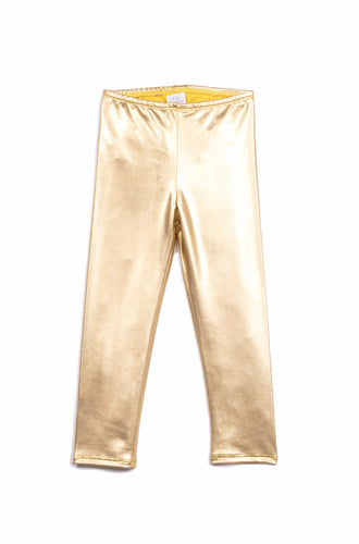 girls gold metallic legging