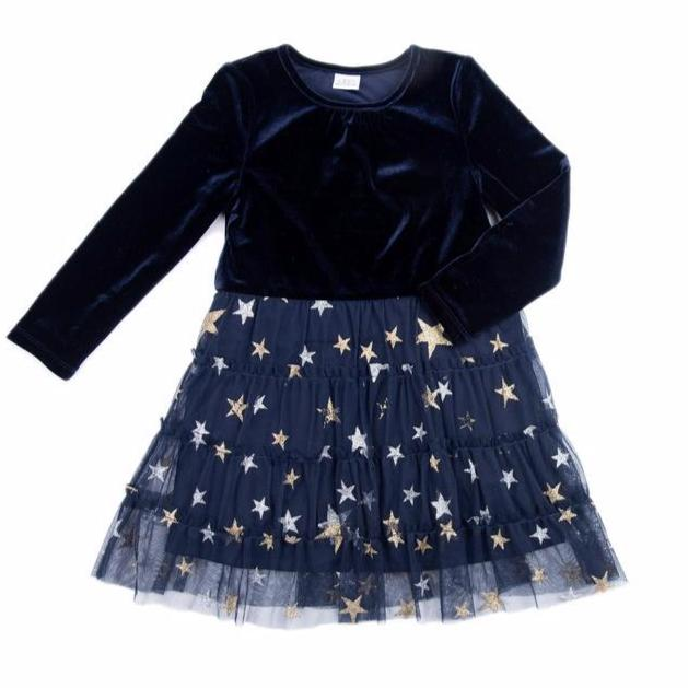 girls navy holiday dress