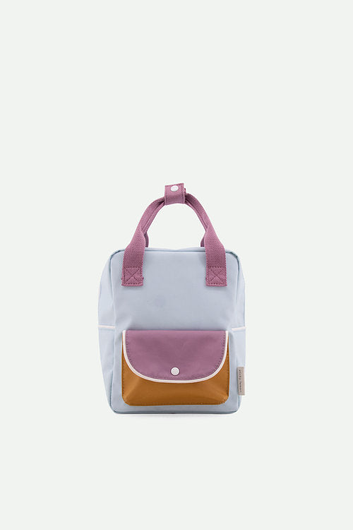 Small Backpack Wanderer | sky blue + pirate purple + caramel fudge