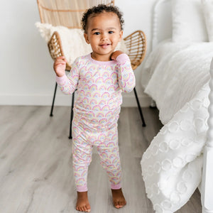 Pastel Rainbows Bamboo Two Piece Pajama Set