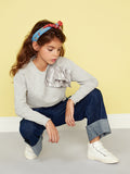 Girls Pretty Grey Party Sweater - Kids Long Sleeved Jumper Applause Grey Marl Sweat Top With Detail