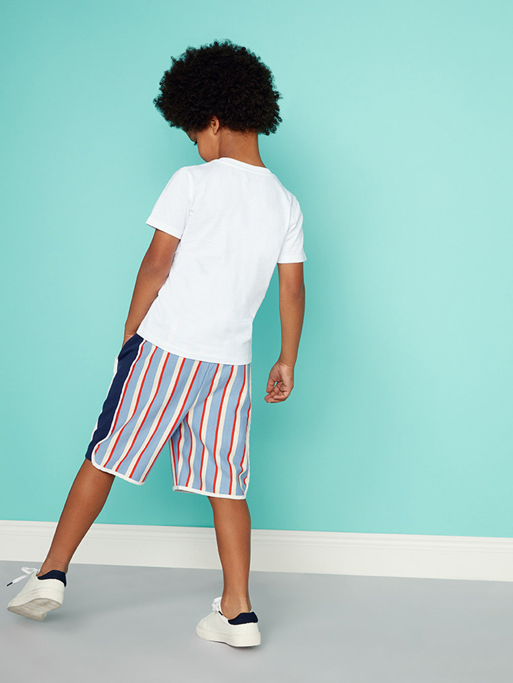 Boys Smart Board Shorts - Collage Collegiate Stripe Sweat Short