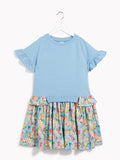 Girls Pretty Blue Party Dress - Kids Best in Class Blue & Painterly Stripe Dress