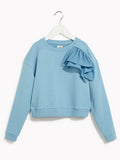 Girls Pretty Blue Party Sweater - Kids Long Sleeved Sparkle Jumper Applause Blue Belle Marl Sweat Top With Detail