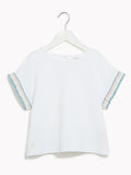Girls Pretty T-Shirt - Kids Short Sleeved Giggly Canvas White Top With Detail