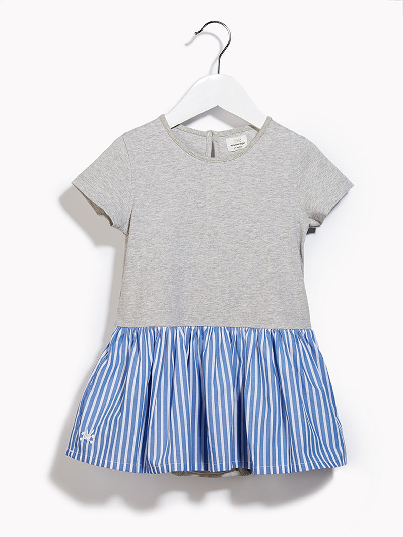Little Girls Toddlers Grey Playsuit - Softie Grey Marl & Biro Blue & White Striped Playsuit