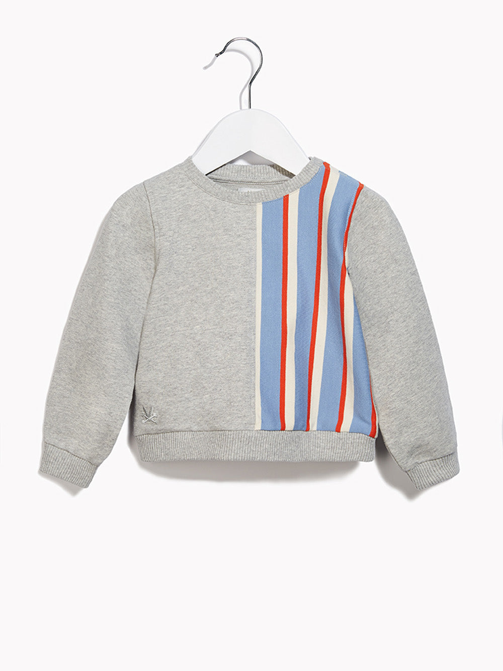 Little Boys Toddler Sweater Jumper - Long Sleeved Toddlers & Crawlers Over the Top Grey Marl & Collegiate Stripe Sweat Top