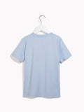 Boys Cool Casual Tee - With Give a Damn Front Printed Chilled-Out Blue T-shirt