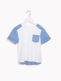 Boys Smart Short Sleeved Top - Shirt Tail White Check Sleeved T-shirt