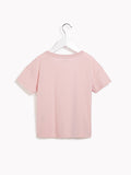 Girls Party T-Shirt - Kids Short Sleeved Adulation Rose Quartz Marl T-shirt With Detail
