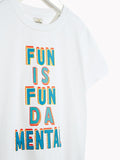 Boys Cool Short Sleeved Tee - Kids Fun Is Fundamental Optic White T-shirt