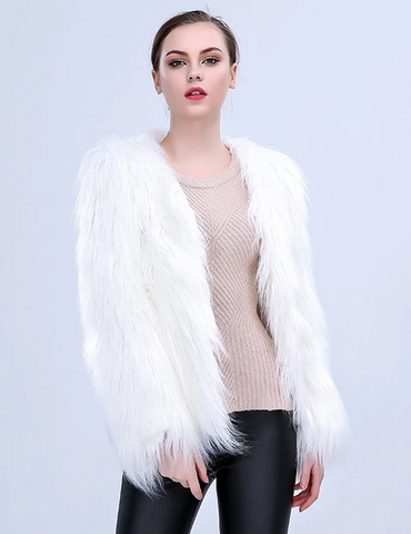 LED Fur Warm Jacket Halloween Costumes for Women