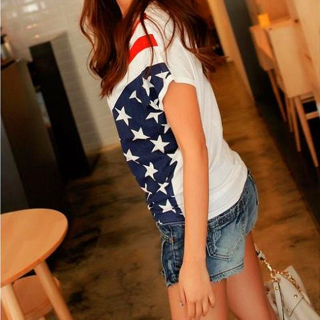 Women's Plus Size Casual T shirts American Flag Printed Sexy Round Neck T Shirt Top Summer Steetwear tee shirt