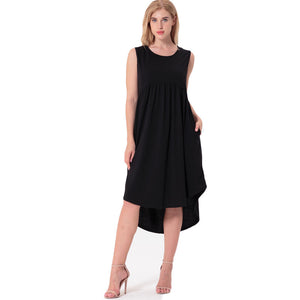 Women  Round Neck Dress Ladies Summer Dress Casual  Sexy Sleeveless Irregular Dresses