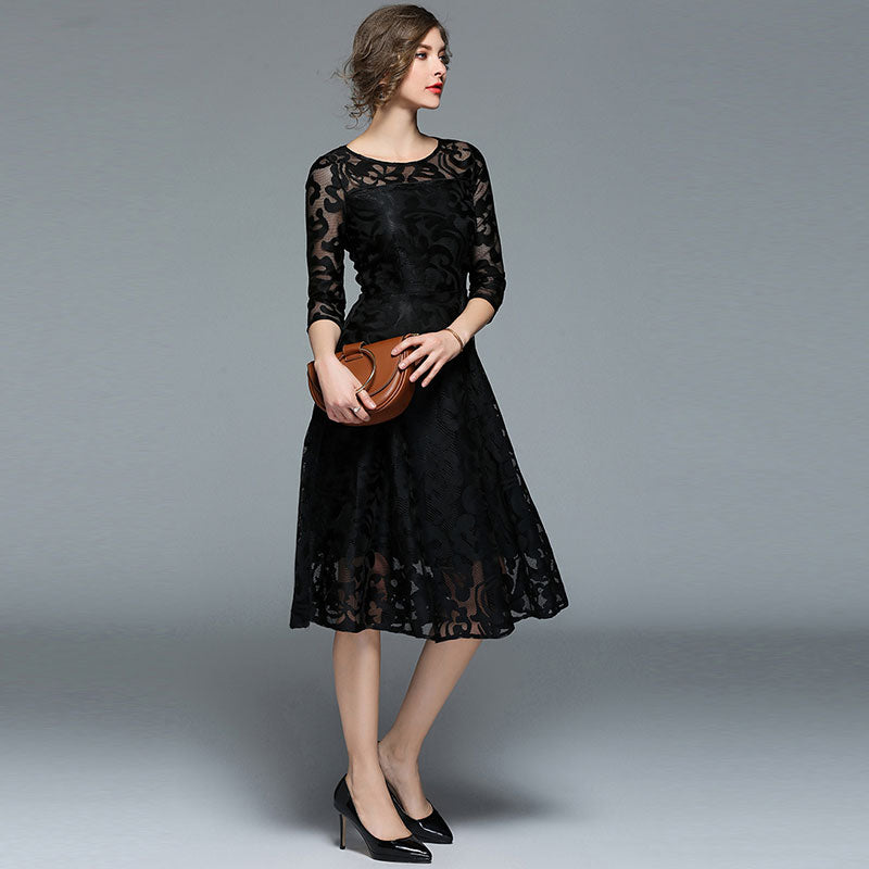 Spring Fashion England Style Luxury Elegant Slim Ladies Party Dress Women Casual Lace Dresses