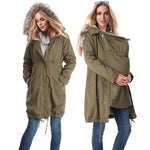 Pregnant Woman Fur Collar Coat