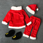 Baby Christmas Clothes 4PCS Newborn Infant Baby Santa Christmas Tops+Pants+Hat+Socks Outfit Set Costume Xmas Winter Clothing