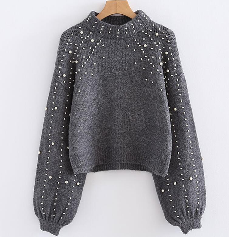 Pearl turtleneck winter knitted sweater Women lantern sleeve loose gray pullover female Soft warm autumn casual jumper