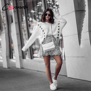 Conmoto Lace Up Batwing Streetwear Sweater Pullover White Long Sleeve Outerwear Knitwear Criss-cross Chic Casual Jumper