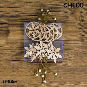 12PCS/Box Creative Xmas Christmas Wooden Chip Pendants Ornaments Hanging Gifts Christmas Tree Ornaments Wood Craft Decorations