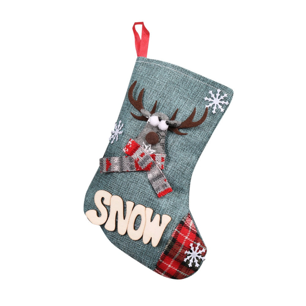 Christmas Stockings Santa Candy BagClaus Sock Gift Kids Candy Bag Xmas Noel Decoration for Home Christmas Tree Ornaments HX08