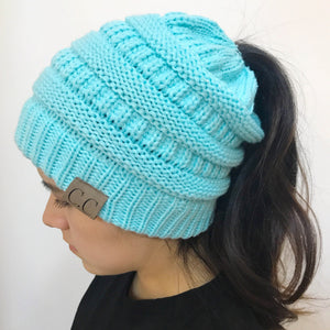 women warm hat CC Warm winter knitted Chunky Soft Slouchy Beanie High bun Ponytail Stretchy hat