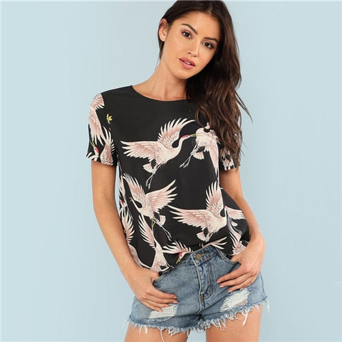 Red crowned Crane Print Top 2018 Summer Round Neck Short Sleeve Casual Top Women Black Floral Animal Print Blouse