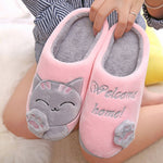 Dropshipping Women Winter Home Slippers Cartoon Cat Shoes Soft Winter Warm House Slippers Indoor Bedroom Lovers Couples 20Jan7