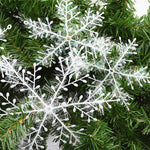 3/9/18/30pcs Christmas Tree Decoration Snowflakes 11cm White Plastic Artificial Snow Christmas Decor Home New Year Party Decor