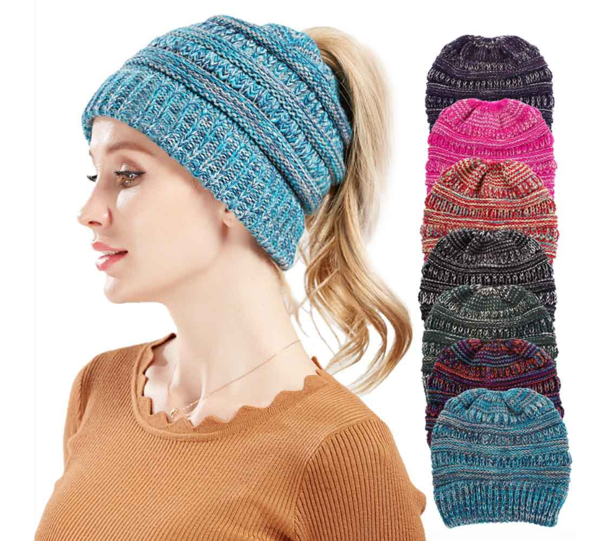 Mixed color knitted wool hat ladies do not label CC horsetail hat