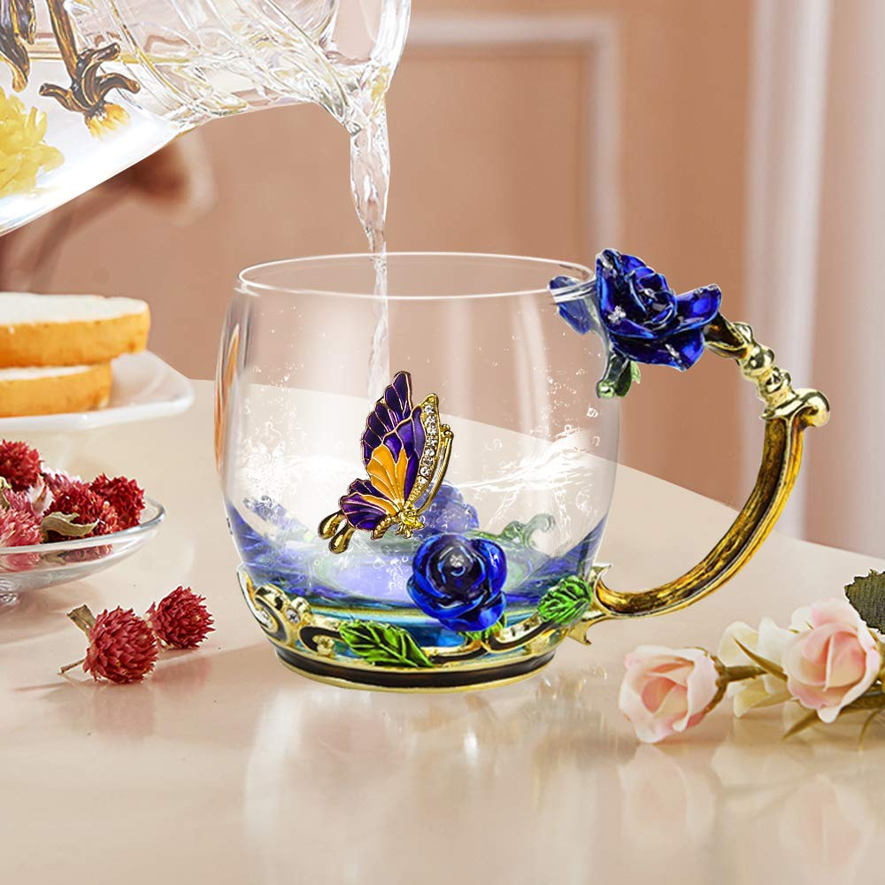 Blue Rose Flower Tea Mug