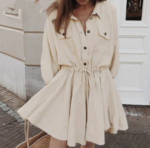 Elegant linen short shirt dress women Long sleeve cotton dress buttons female vestidos Vintage summer dresses