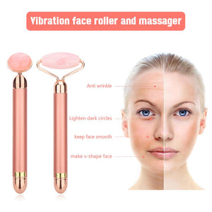Vibrating Natural Rose Quartz Jade Roller Face Lifting Real Genuine Green Jade Stone Facial Roller Beauty Massage Tool