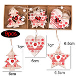 1SET DIY Creative Wooden Printed Christmas Pendants Decorations Colorful Wood Crafts Christmas Tree Jewelry Party Home Decor