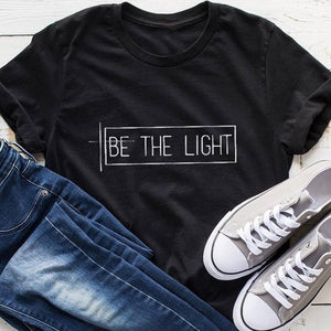 Be The Light T Shirt Women Cotton Causal Christian Tshirts Graphic Tees Vintage Harajuku Shirt Femme Tops Grunge