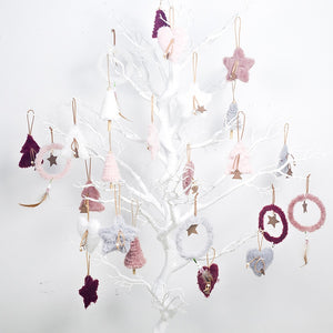 5pcs/set Creative Plush Christmas Tree Hanging Pendant Pink White Heart Star Feather Ornament Christmas Decoration for Home Xmas