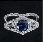 Exquisite heart-shaped blue gemstone ring female copper-plated micro-inlaid zircon ladies ring