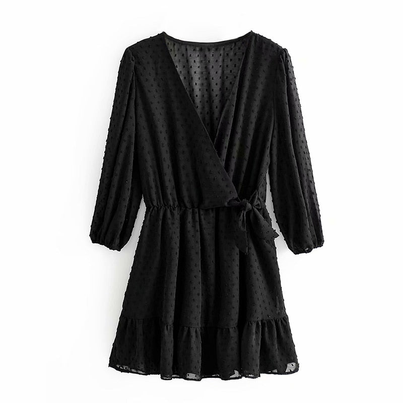 Summer Women Ruffles Lace Chiffon Dress Boho Mini Beach Dress Three Quarter Sleeve Ladies Party Dresses