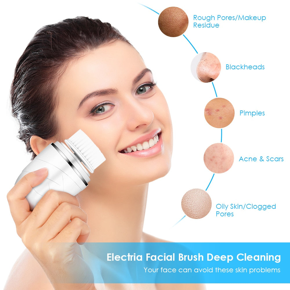 3 In 1 Face Cleansing Instrument Facial Care Tool Blackhead IP65 Waterproof Beauty Brush With 3 Brush Heads