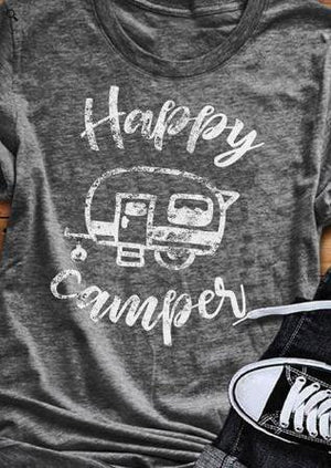Women T Shirt Short Sleeve Happy Camping Bus Print O Neck T Shirt Female Tops Tee