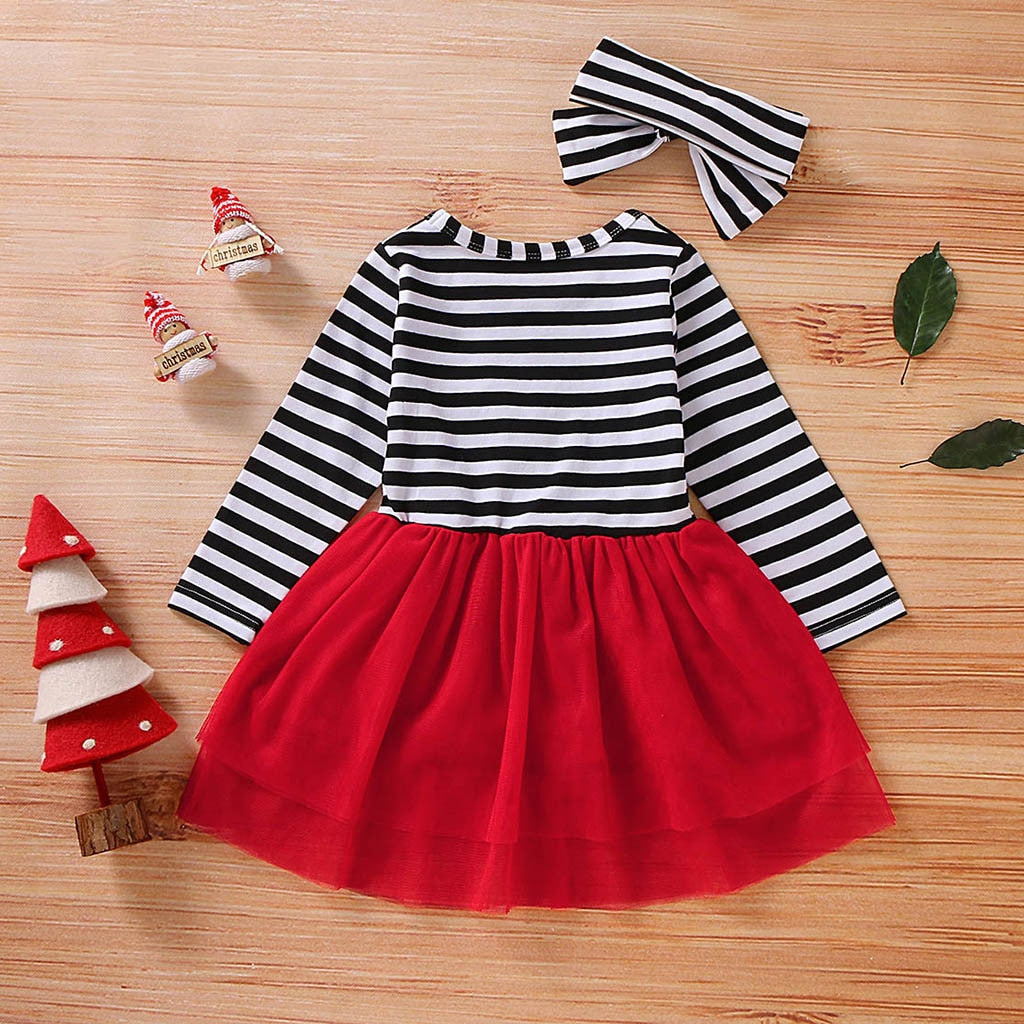 Toddler Girls Christmas Dress Santa Striped Print Tulle Dress+Headband Outfits Toddler Christmas Dress Girls Vestido Infantil