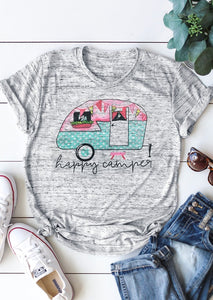 Summer Women T Shirt Camping Bus O Neck Short Sleeve T Shirt Female Short Sleeve Light Grey t shirt Casual Ladies Tops Tee