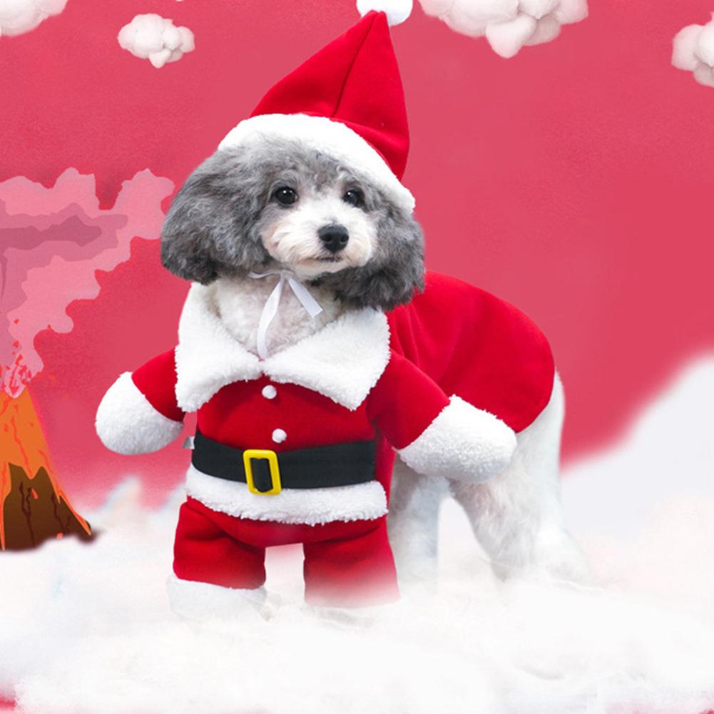 Lovely Christmas Pet Santa Claus Suit Costumes Cat Puppy Warm Comfortable Jumpsuit Hoodies Clothes Pet Xmas Decoration