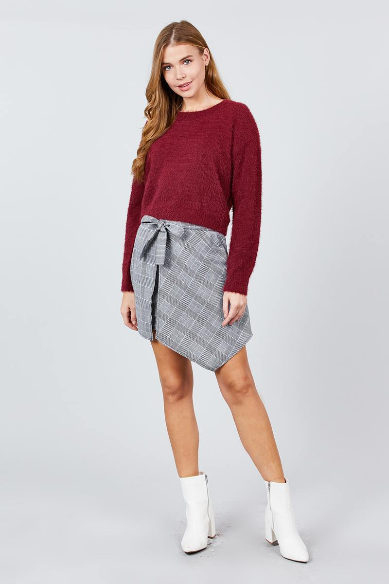 Burgundy Soft Round Neck Crop Sweater