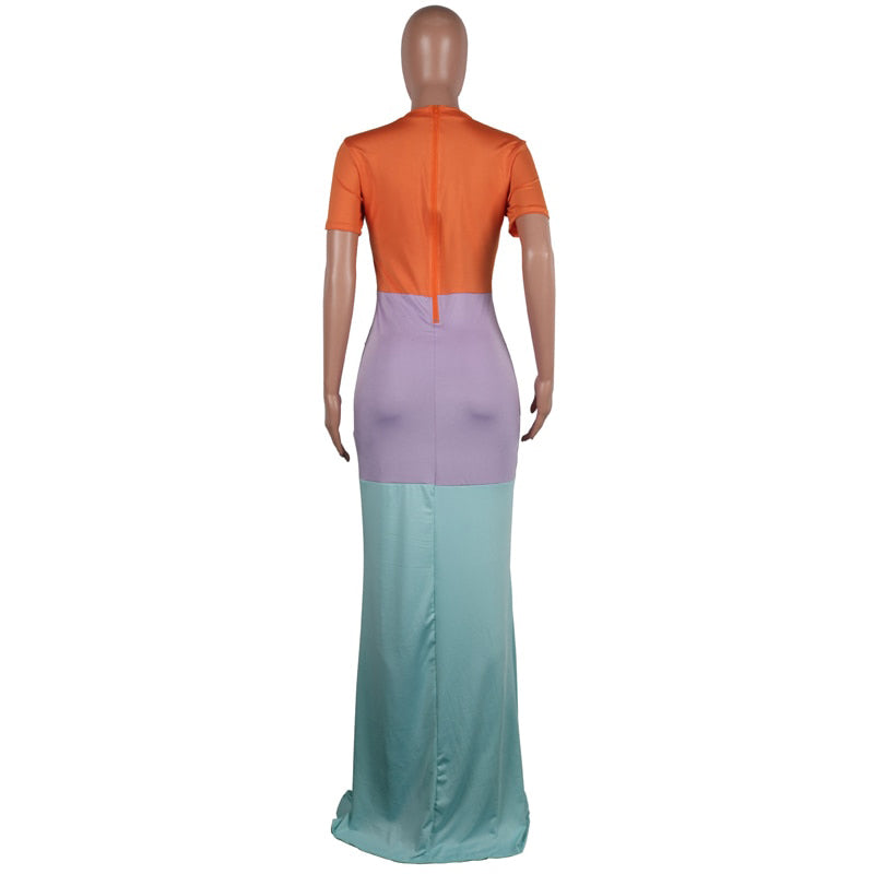Women Color Block Maxi Dresses Summer O-neck Short Sleeve Zipper Up Patchwork Bodycon Dress